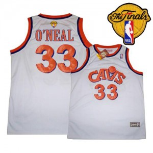 Maillot NBA Cleveland Cavaliers #33 Shaquille O'Neal Blanc Mitchell and Ness Authentic CAVS Throwback 2015 The Finals Patch - Homme