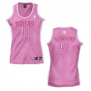 Dallas Mavericks #41 Adidas Fashion Rose Authentic Maillot d'équipe de NBA boutique en ligne - Dirk Nowitzki pour Femme