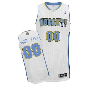 Maillot NBA Blanc Authentic Personnalisé Denver Nuggets Home Homme Adidas