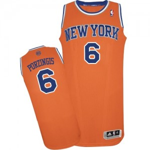 New York Knicks #6 Adidas Alternate Orange Authentic Maillot d'équipe de NBA la vente - Kristaps Porzingis pour Homme