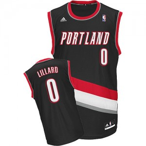 Maillot Adidas Noir Road Swingman Portland Trail Blazers - Damian Lillard #0 - Homme