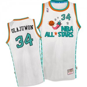 Houston Rockets Mitchell and Ness Hakeem Olajuwon #34 Throwback 1996 All Star Authentic Maillot d'équipe de NBA - Blanc pour Homme