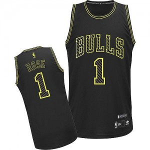 Maillot NBA Chicago Bulls #1 Derrick Rose Noir Adidas Authentic Electricity Fashion - Homme