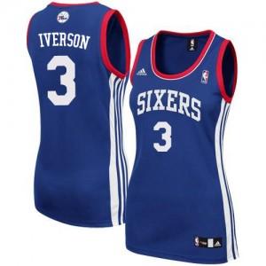 Philadelphia 76ers #3 Adidas Alternate Bleu royal Authentic Maillot d'équipe de NBA en soldes - Allen Iverson pour Femme