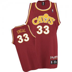 Maillot NBA Cleveland Cavaliers #33 Shaquille O'Neal Orange Mitchell and Ness Authentic CAVS Throwback - Homme