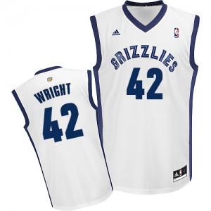 Memphis Grizzlies Lorenzen Wright #42 Home Swingman Maillot d'équipe de NBA - Blanc pour Homme