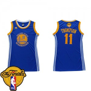 Maillot NBA Golden State Warriors #11 Klay Thompson Bleu Adidas Swingman Dress 2015 The Finals Patch - Femme