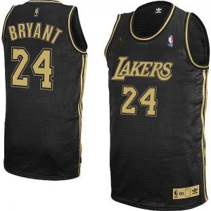 Maillot Adidas Noir / Gris No. Final Patch Authentic Los Angeles Lakers - Kobe Bryant #24 - Homme