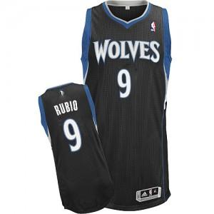 Minnesota Timberwolves #9 Adidas Alternate Noir Authentic Maillot d'équipe de NBA pas cher - Ricky Rubio pour Homme
