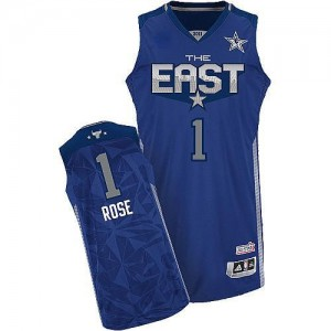 Maillot NBA Bleu Derrick Rose #1 Chicago Bulls 2011 All Star Authentic Homme Adidas