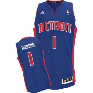 Maillot NBA Detroit Pistons #1 Allen Iverson Bleu royal Adidas Swingman Road - Homme