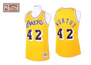 Los Angeles Lakers #42 Mitchell and Ness Throwback Or Authentic Maillot d'équipe de NBA pour pas cher - James Worthy pour Homme