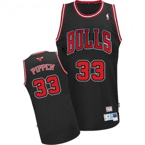 Maillot Adidas Noir Throwback Authentic Chicago Bulls - Scottie Pippen #33 - Homme