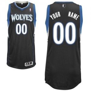 Maillot Adidas Noir Alternate Minnesota Timberwolves - Authentic Personnalisé - Enfants
