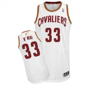 Maillot NBA Cleveland Cavaliers #33 Shaquille O'Neal Blanc Adidas Authentic Home - Homme