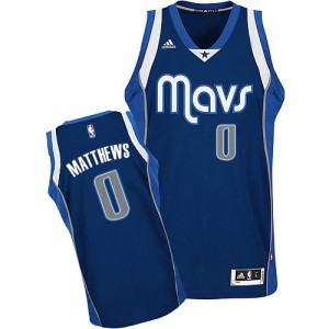Dallas Mavericks Wesley Matthews #0 Alternate Swingman Maillot d'équipe de NBA - Bleu marin pour Homme