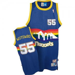 Maillot NBA Authentic Dikembe Mutombo #55 Denver Nuggets Throwback Bleu clair - Homme