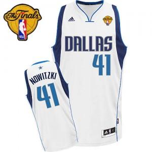Dallas Mavericks #41 Adidas Home Finals Patch Blanc Swingman Maillot d'équipe de NBA Vente pas cher - Dirk Nowitzki pour Homme