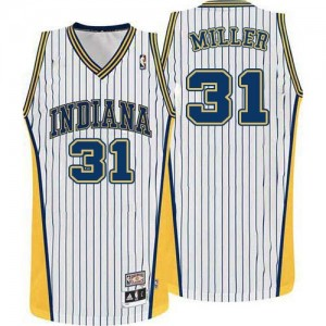 Indiana Pacers #31 Mitchell and Ness Throwback Blanc Authentic Maillot d'équipe de NBA vente en ligne - Reggie Miller pour Homme