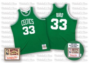 Maillot NBA Vert Larry Bird #33 Boston Celtics Throwback Swingman Homme Mitchell and Ness