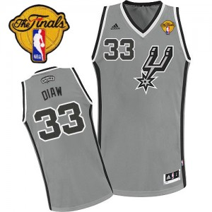 Maillot Adidas Gris argenté Alternate Finals Patch Swingman San Antonio Spurs - Boris Diaw #33 - Homme