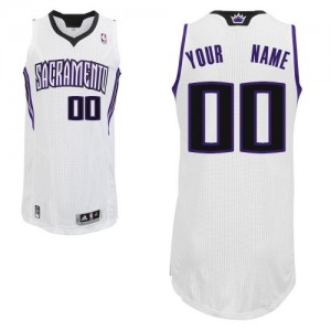 Maillot NBA Blanc Authentic Personnalisé Sacramento Kings Home Homme Adidas