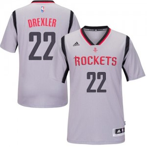 Maillot Authentic Houston Rockets NBA Alternate Gris - #22 Clyde Drexler - Homme
