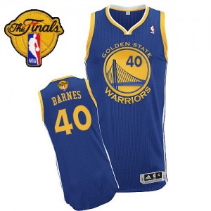 Maillot NBA Golden State Warriors #40 Harrison Barnes Bleu royal Adidas Authentic Road 2015 The Finals Patch - Homme