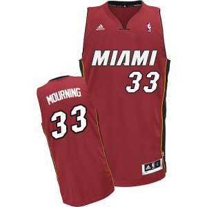 Maillot NBA Miami Heat #33 Alonzo Mourning Rouge Adidas Swingman Alternate - Homme