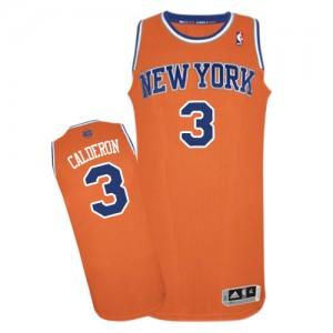 Maillot NBA Orange Jose Calderon #3 New York Knicks Alternate Authentic Homme Adidas