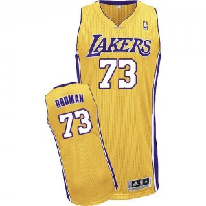Maillot NBA Los Angeles Lakers #73 Dennis Rodman Or Adidas Authentic Home - Homme
