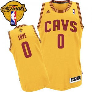 Cleveland Cavaliers Kevin Love #0 Alternate 2015 The Finals Patch Authentic Maillot d'équipe de NBA - Or pour Enfants