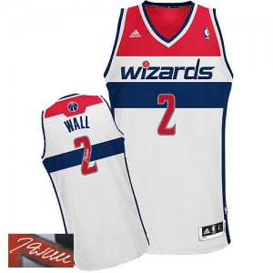 Maillot Authentic Washington Wizards NBA Home Autographed Blanc - #2 John Wall - Homme