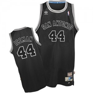 "Maillot Authentic San Antonio Spurs NBA ""Iceman"" Nickname Noir - #44 George Gervin - Homme"