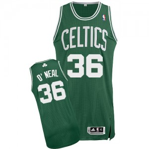 Maillot NBA Boston Celtics #36 Shaquille O'Neal Vert (No Blanc) Adidas Authentic Road - Homme