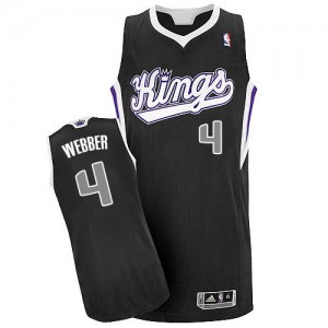 Sacramento Kings Chris Webber #4 Alternate Authentic Maillot d'équipe de NBA - Noir pour Homme