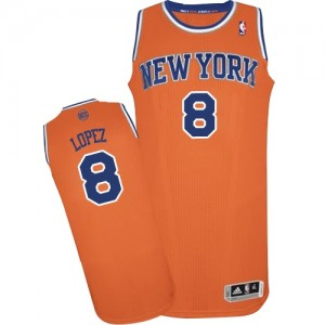 Maillot Authentic New York Knicks NBA Alternate Orange - #8 Robin Lopez - Homme