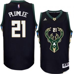 Maillot NBA Milwaukee Bucks #21 Miles Plumlee Noir Adidas Authentic Alternate - Homme