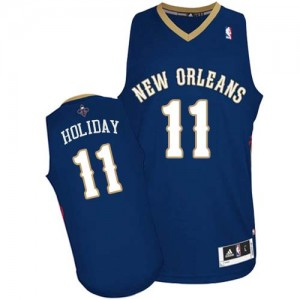 Maillot Adidas Bleu marin Road Authentic New Orleans Pelicans - Jrue Holiday #11 - Homme