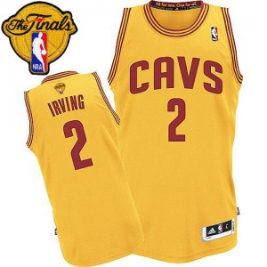 Maillot NBA Authentic Kyrie Irving #2 Cleveland Cavaliers Alternate 2015 The Finals Patch Or - Homme