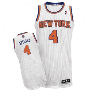 New York Knicks Arron Afflalo #4 Home Authentic Maillot d'équipe de NBA - Blanc pour Homme