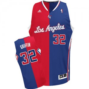 Maillot Adidas Rouge Bleu Split Fashion Swingman Los Angeles Clippers - Blake Griffin #32 - Homme