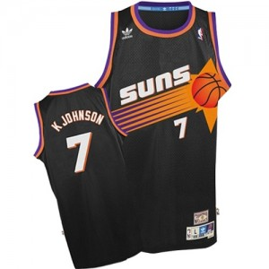 Maillot NBA Noir Kevin Johnson #7 Phoenix Suns Throwback Authentic Homme Adidas