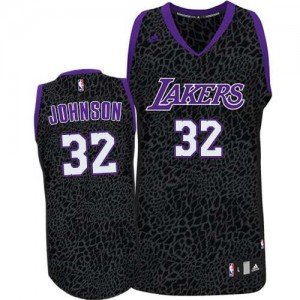 Maillot NBA Violet Magic Johnson #32 Los Angeles Lakers Crazy Light Authentic Homme Adidas