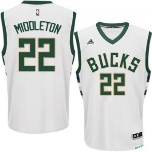 Maillot NBA Milwaukee Bucks #22 Khris Middleton Blanc Adidas Authentic Home - Homme