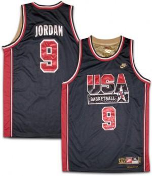 Team USA #9 Nike No. d'or Blanc Swingman Maillot d'équipe de NBA Vente pas cher - Michael Jordan pour Homme
