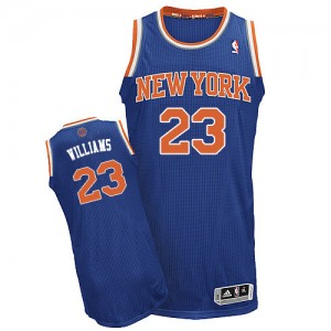 Maillot Adidas Bleu royal Road Authentic New York Knicks - Derrick Williams #23 - Homme