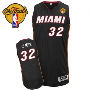 Maillot Adidas Noir Road Finals Patch Authentic Miami Heat - Shaquille O'Neal #32 - Homme