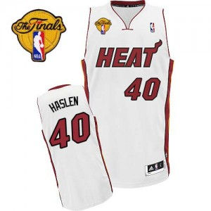 Maillot NBA Swingman Udonis Haslem #40 Miami Heat Home Finals Patch Blanc - Homme