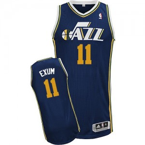 Maillot NBA Utah Jazz #11 Dante Exum Bleu marin Adidas Authentic Road - Homme